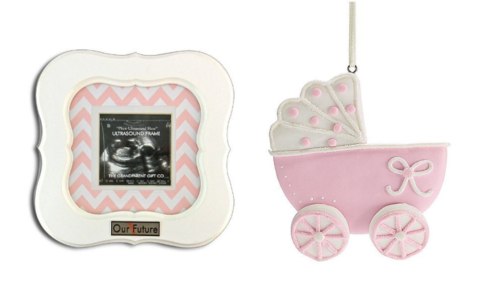 Our Future Sonogram Frame and Baby Carriage Ornament (Pink) Kelli' s