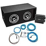 Skar Audio Dual 6.5' 800 Watt Complete Subwoofer Bass Package - Subwoofers Loaded in Vented Box w/Amplifier - Black