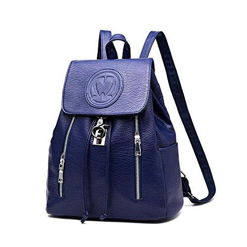 estilo sintética aire Mochila negro capacidad Pawaca gran azul para casual mujer piel para actividades libre al de U8wqwpt
