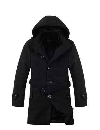 enjoy free shipping shop for luxury low price Cartiar Men's Winter Wool Peacoat Hoodie Wind Outerwear ...