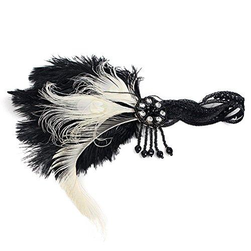 Women's Roaring Vintage Feather 20S Headpiece 1920S Flapper Headband Tea Party Headwear for Girls and Women Blk_WhiteHBD]()