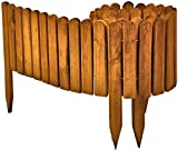 Floranica Spiked Roll Boarder as plug-in fence 203 cm long as wooden border for flower beds, border for lawn edges or palisades - natural color weatherproof impregnated, Color:brown, Height:20 cm