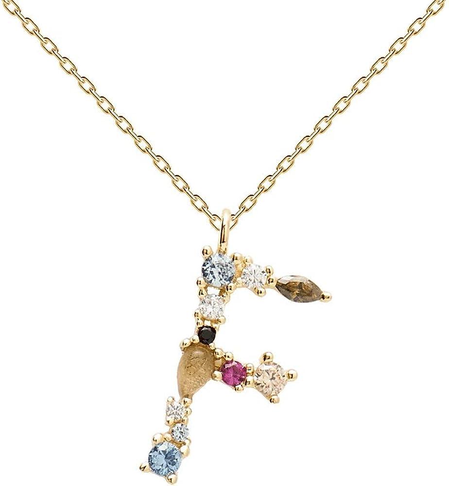 PDPAOLA - Collar Letra F - Plata de Ley 925 Bañada en Oro de 18k - Joyas para Mujer