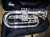 Marching Baritone with hard case and mouthpiece, Silver