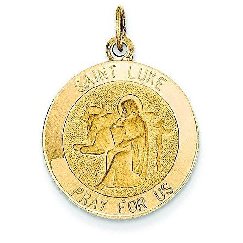 Pendentif Médaille Saint-Luc 14 carats-Dimensions :  18,4 x 24,3-JewelryWeb mm