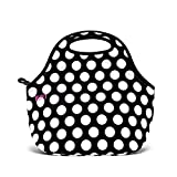 Built NY Gourmet Getaway Reusable Insulated Lunch Bag, Fashionable, Durable, Expandable, Machine Washable For Women, Men and Kids  - Great for Work, Road Trips, Plane Rides, Picnics - Anytime! - Big  Dot Black and White