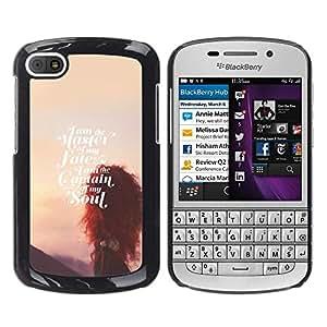 YOYOYO Smartphone Protección Defender Duro Negro Funda Imagen Diseño Carcasa Tapa Case Skin Cover Para BlackBerry Q10 - maestro de alma destino atardecer inspirador