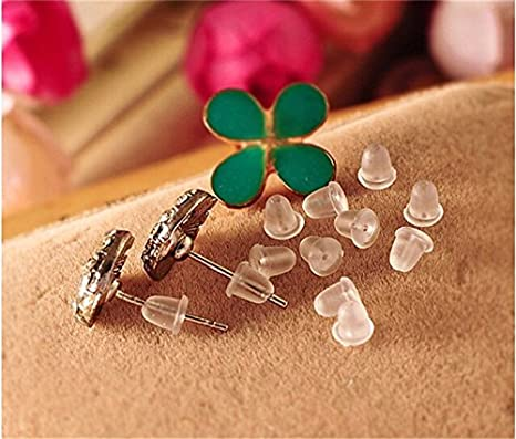 100x Soft Earrings Hook Flower Safety Stopper Earnut Silicone Rubbers Back TO
