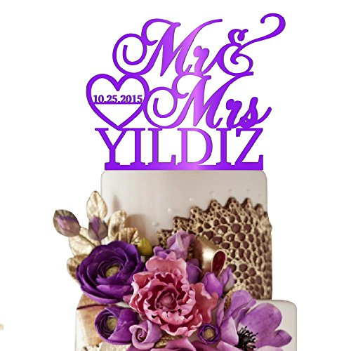 Sugar Yeti Made In USA Personalized Wedding Cake Topper Mr Heart Mrs With Date #32 Purple Mirror