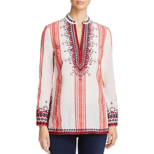 - Tory Burch Womens Tory Embroidered V-Neck Tunic Top White 0