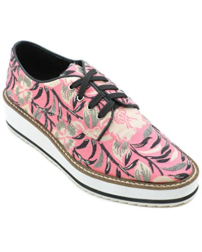Lace up Pink Wedge Oxford LONDON Floral 37 SHELLYS Platform Dada wxgOqnZX