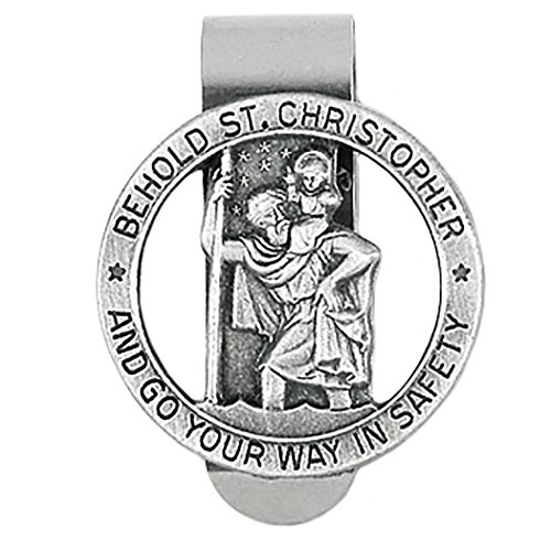 Rosemarie Collections Religious St Christopher Medal Go Your Way in Safety (Auto Visor Clip)