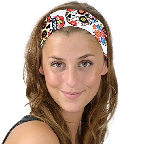 White Day of the Dead Classic Sugar Skulls Soft Headband Dia de los Muertos -