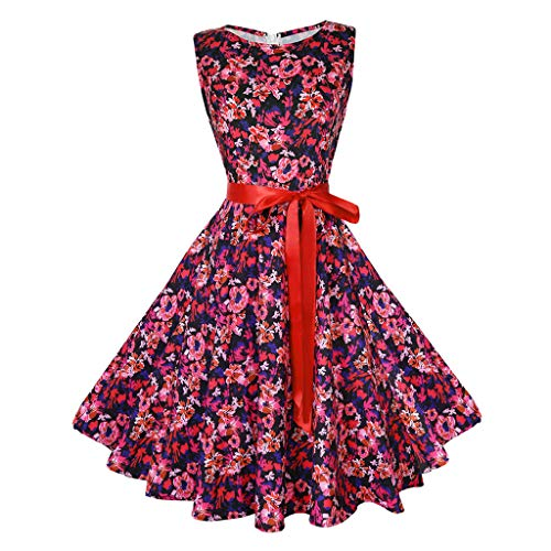 Rakkiss Women Vintage Skirt Print Boatneck Belt Hepburn Skirt A-Line Elegant Exquisite Midi Dress Red