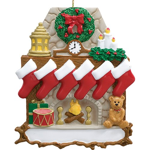 Personalized Fireplace Stockings Family of 6 Christmas Ornament for Tree 2018 - Wooden Mantle Stone Chimney Wreath Red Trumpet Teddy - Children Friend Tradition Cozy Kid - Free Customization (Six)