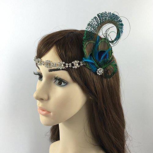 Peacock Feather Sparkly Rhinestone Headband Hair Band for Bridal Wedding