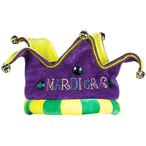 [Plush Jester Crown Hat with Bells Mardi Gras Costume Party Headwear, Fabric, 5