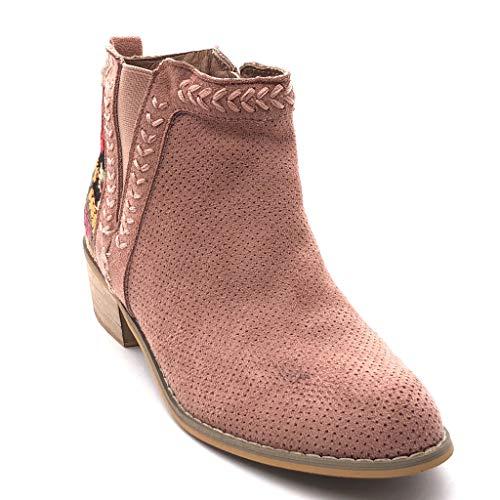 Botas Bordado Boots Ancho Chelsea Cm 4 Tacón Mocasines Mujer Pálido  Perforado Zapatillas Angkorly Alto Moda ... ca0c764ff50c3