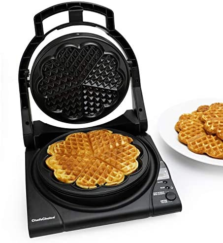 Chef sChoice 840 WafflePro Taste Texture Select Waffle Maker Traditional Five of Hearts Easy to Clean Nonstick Plates, 5-Slice, Silver