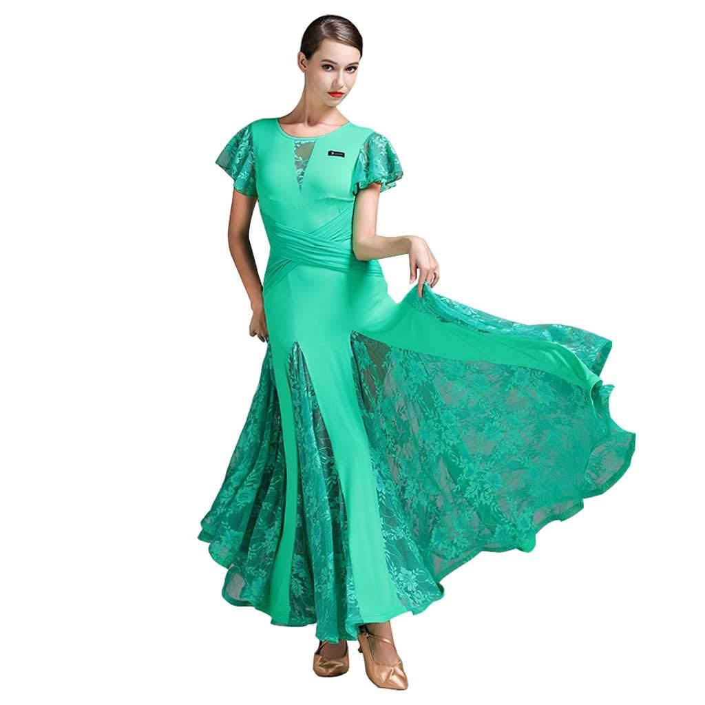現代ダンスボールルームダンススカート、成人ナイロンレースボールルームダンス B07HCCBLZB L l|グリーン グリーン L l