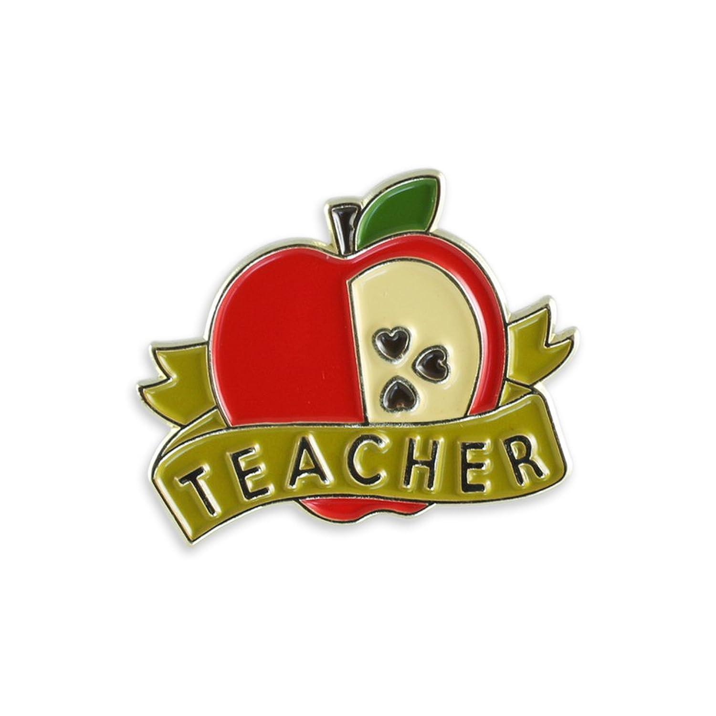 Red Apple Teacher Appreciation Antique Gold Enamel Lapel Pin
