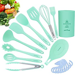 20in1 Silicone Cooking Kitchen Utensils Set, Cooking Tool BPA Free Non Toxic Silicone Turner Tongs Spatula Spoon Kitchen Gadgets Utensil Kit w/Hooks for Nonstick Cookware