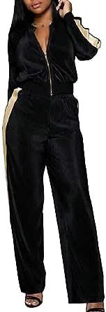 Women's 2 PCS Tracksuits Set Active Sport Blouse Tops Pants Sets Green US X-Large