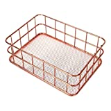 Timoo Desk Drawer Organizer Rose Gold Wire Basket Metal Mesh Holder for Storage Cosmetic Stationery