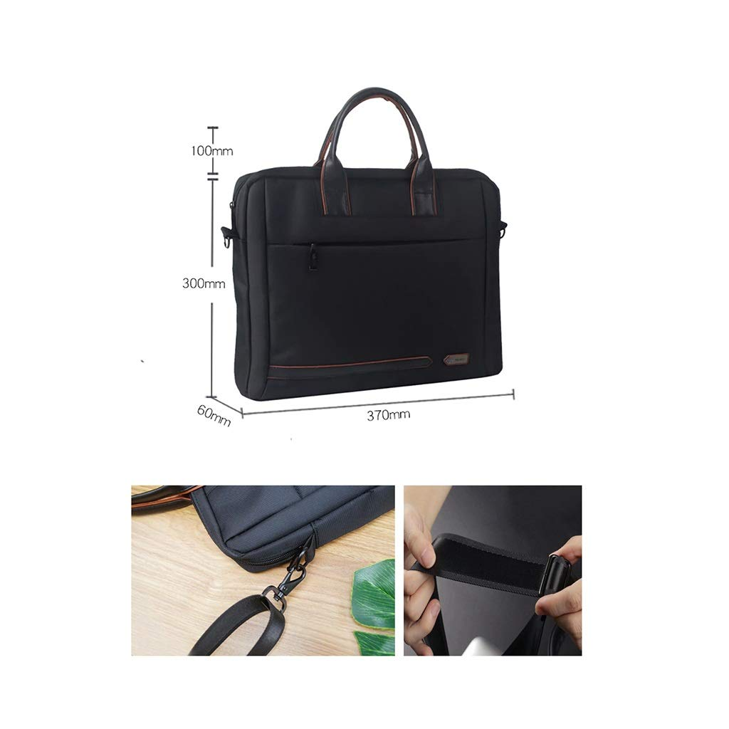 Hand-held Inclined File Bag, Canvas Waterproof Zipper File Information Bag 37×30×6cm (Color : Black, Size : 37×30×6cm) by QSJY File Cabinets