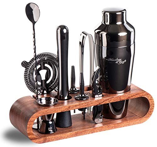 Mixology Bartender Kit: 10-Piece Black Bar Set Cocktail Shaker Set with Stylish Mahogany Stand | Perfect Home Bartending Kit with Gun Metal Bar Tools and Martini Shaker for Foolproof Drink Mixing -