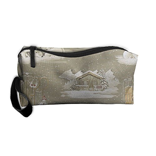Cute Alpine Chalet 3D Printing Zipper Closure Cosmetic Makeup Bag Pencil Pen Case Travel Bag Tote For - Chalet Sunglass