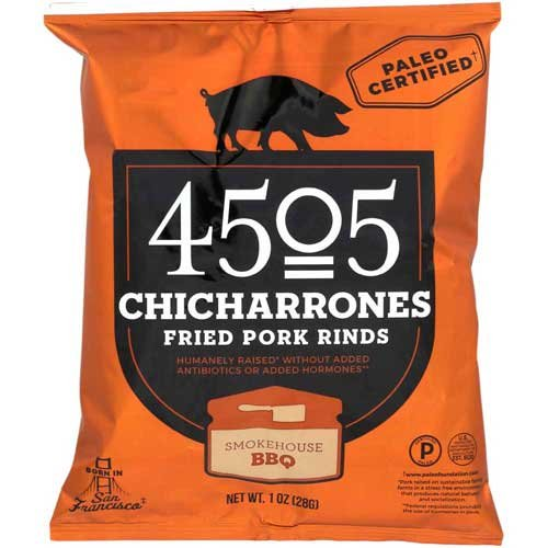 4505 Smokehouse BBQ Fried Pork Rinds Chicharrones, 1 Ounce -- 24 per (Federal Cocktail)