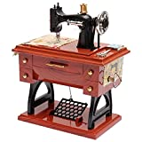 TonTech Newest Christmas Gift Retro Musical Sewing Machine Hand Crank Clockwork Relax Music Box Vintage Brown Plastic