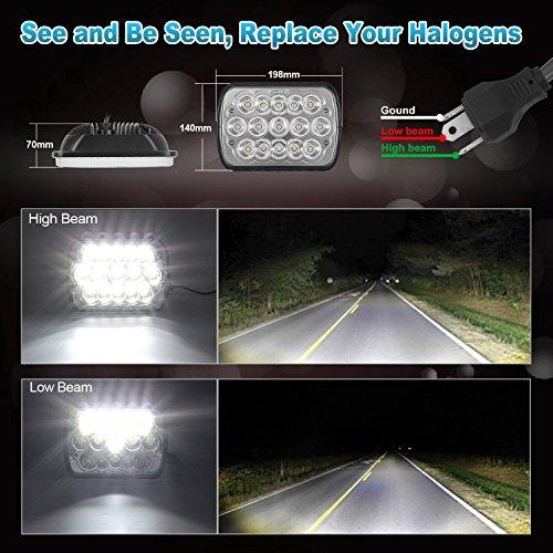 2 pc V-Spec 7x6 Premium LED Headlight Conversions - Black H6014/H6052/H6054 5x7