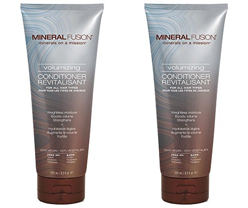 Mineral Fusion Volumizing Conditioner (Pack of 2) with Certified Organic Aloe Vera Leaf Juice, Malachite Extract, Smithsonite Extract, Jojoba Seed Oil, Montmorillonite Clay and Olive Oil, 8.5 fl. oz. (Fusion Olive Oil)