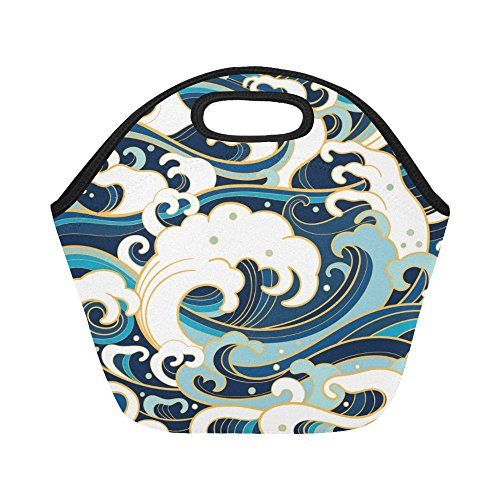 InterestPrint Traditional Japanese Ocean Waves Foam Splashes Reusable Insulated Neoprene Lunch Tote Bag Cooler 11.93'' x 11.22'' x 6.69'', Portable Lunchbox Handbag for Men Women Adult Kids by InterestPrint