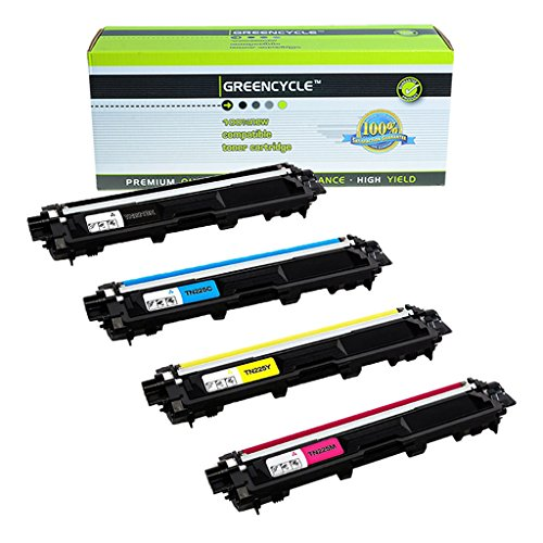 greencycle High Yield Toner Cartridges 4 Color Set Replacement for Brother TN221BK TN225C TN225Y TN225M (Black, Cyan, Yellow, Magenta)