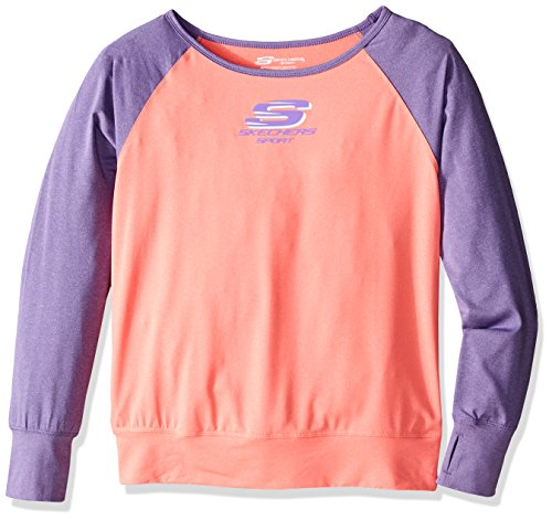 Skechers Big Girls' Sport Long Sleeve T-Shirt, Fiery Coral, Medium by Skechers