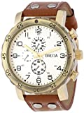 Breda Men's 1635-G Steve Oversized Industrial Stud faux leather Band Watch, Watch Central