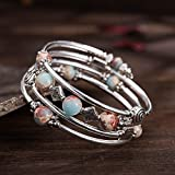 Beaded Pearl Bangle Wrap Bracelet - Fashion
