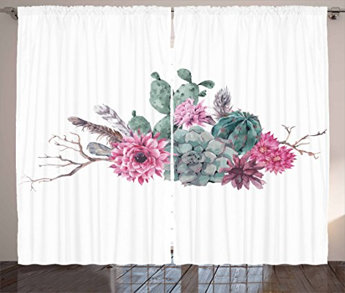 Ambesonne Succulent Curtains, Feathers Flowers Cacti Ethnic Hipster Elements Vintage Fashion, Living Room Bedroom Window Drapes 2 Panel Set, 108 W X 63 L Inches, Sage Green Light Pink Mauve