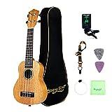 Soprano Ukulele Mahogany Bundle 21 Inch Professional Aquila Strings Kids Small Guitar Beginner Kit with Tuner, Strap, Extra Strings, Polishing cloth, Picks, Gig Bag for Kids Children Adults Students