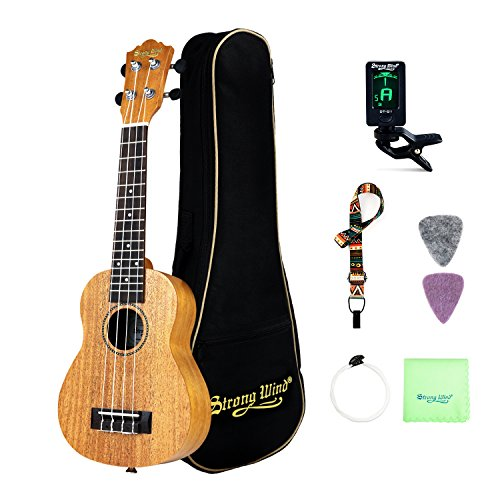 Soprano Ukulele Mahogany Bundle 21 Inch Professional Aquila Strings Kids Small Guitar Beginner Kit with Tuner, Strap, Extra Strings, Polishing cloth, Picks, Gig Bag for Kids Children Adults Students by Strong Wind