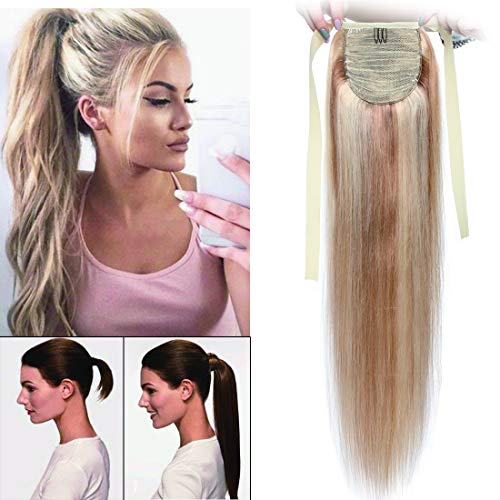 100% Remy Human Hair Wrap Around Tie Up Ponytail Clip in/on Drawstring Binding Hair Extension Straight Highlights Ribbon Pony Tail Hairpieces for Woman #18P613 Ash Blonde&Bleach Blonde 20 inches 95g