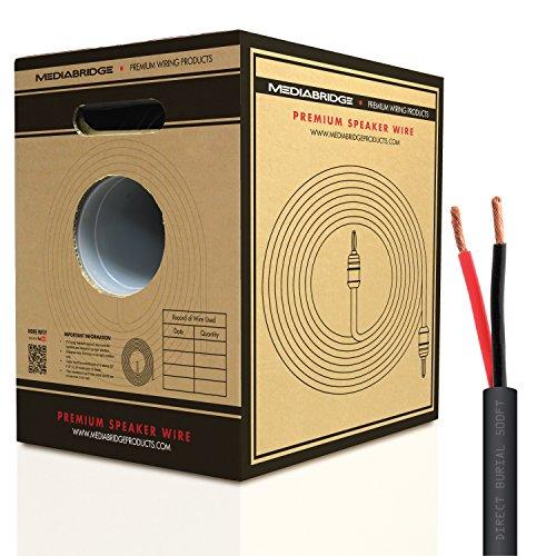 Mediabridge 12AWG 2-Conductor Direct Burial Speaker Wire (500 Feet, Red/Black) - 99.9% Oxygen Free Copper ( SWDB-12X2-500 ) by Mediabridge