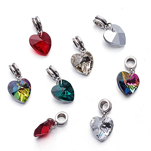 Kissitty 50-Piece Glass Dangle Heart Pendants Large Hole Randomly Assorted Color 1 inch (25mm with Bail Hanger) Fit European Style Jewelry Making