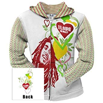 Bob Marley - Womens Love Juniors Zip Hoodie Small White