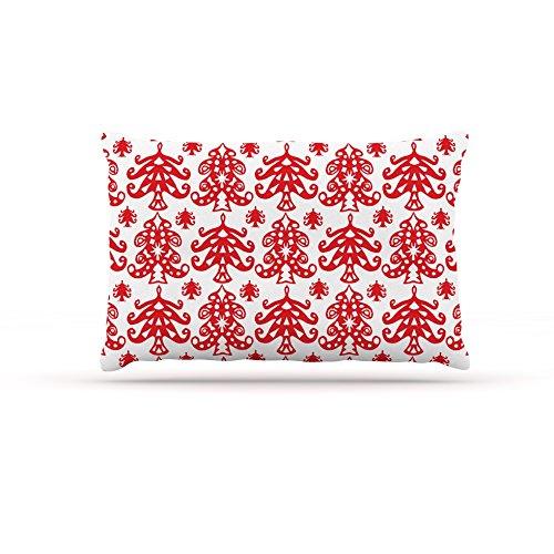 Kess InHouse Miranda Mol Ornate Trees White  Fleece Dog Bed, 50 by 60 , Red Holiday