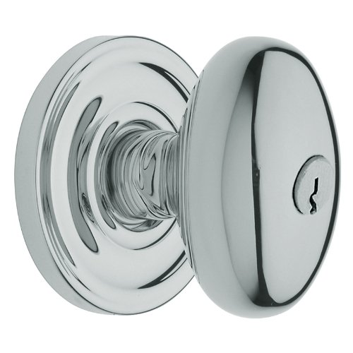 Baldwin 5225.ENTR Egg Style Keyed Entry Door Knob Set with Classic Rosette the E, Polished Chrome (Oval Style Rosette)