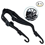 AutoEC Strength Retractable Elastic Rope Strap for Motorcycle Helmet Luggage with 2 Hooks, Pack of 3 (60CM)